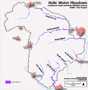 Map of Relic Watermeadows in the AONB